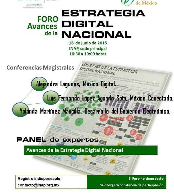 Avances de la Estrategia Digital Nacional, un foro realizado en el INAP