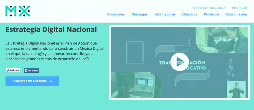 Sitio web de la Estrategia Digital Nacional