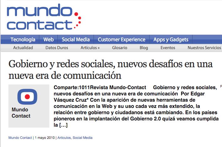Gobierno y redes sociales, nuevos desafíos en una nueva era de comunicación por Edgar Vásquez Cruz